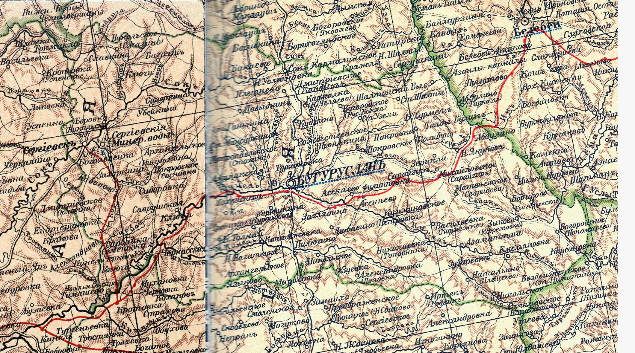 Маршрут Самара - Бугуруслан на карте автомобильных